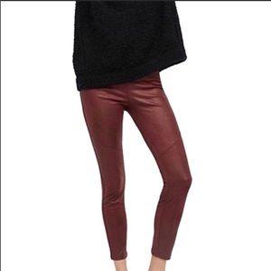 Free People Burgundy Skinny Vegan Leather Pants